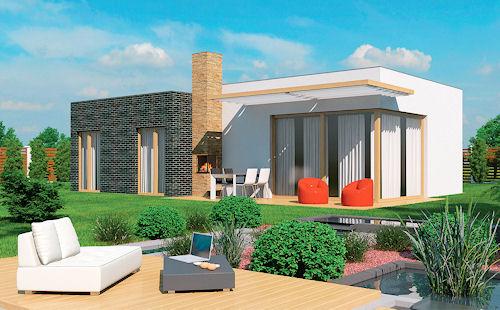 Plochá střecha s dominantním tělesem komínu venkovního krbu dávají charakter domu Lukáš 15. Dům svou mírou obliby potvrzuje současný zájem investorů o bungalovy.